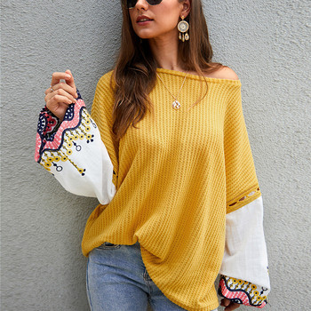 Fashion Knitted Embroidery Pullovers Sweater Women Casual Flare Sleeve Slash Neck Full Sleeve Sweater Top 2020 New plain slash neck flare sleeve bodycon dress