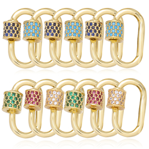 DIY Jewelry Making Handmade Zircon Craft Clasps Supplies Screw Clasps Pendants Accessories For Necklace Punks Jewelry Making