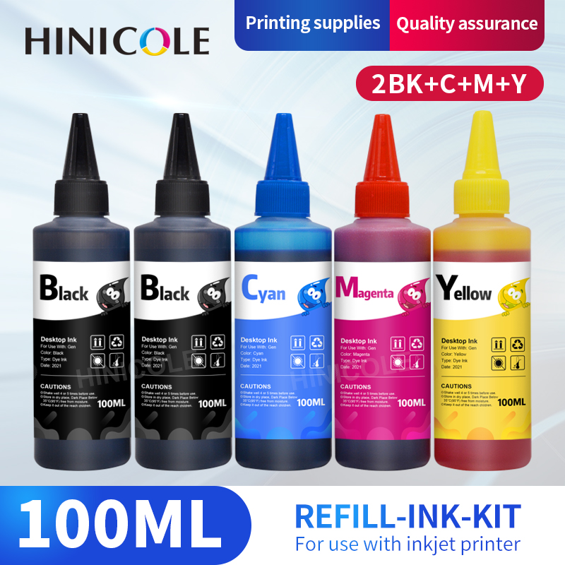 HINICOLE 100ML Universal Refill Ink kit for Epson for Canon for HP for Brother Inkjet Printer CISS Cartridge Printer Ink