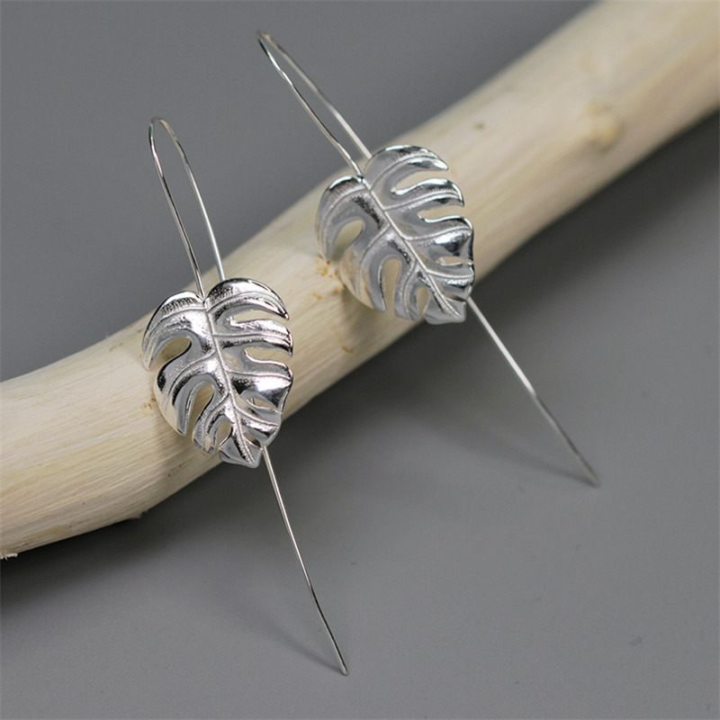INATURE 925 Sterling Silver Monstera Leaf Drop Earrings for Women Fashion Jewelry Accessories