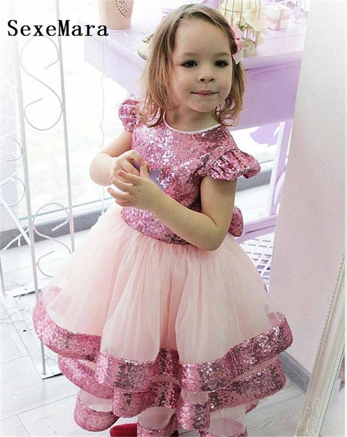 Bling Bling Sequins Blush Pink Tulle Flower Girl Dresses Tiered Performing Gown For Pageant Baby Toddler Birthday Party Dress