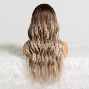 Image 3 - אלן איטון Ombre חום אפר אפור התיכון חלק ארוך גלי פאות טמפרטורה גבוהה טבעי שיער גל סינטטי פאת קוספליי מזויף שיער