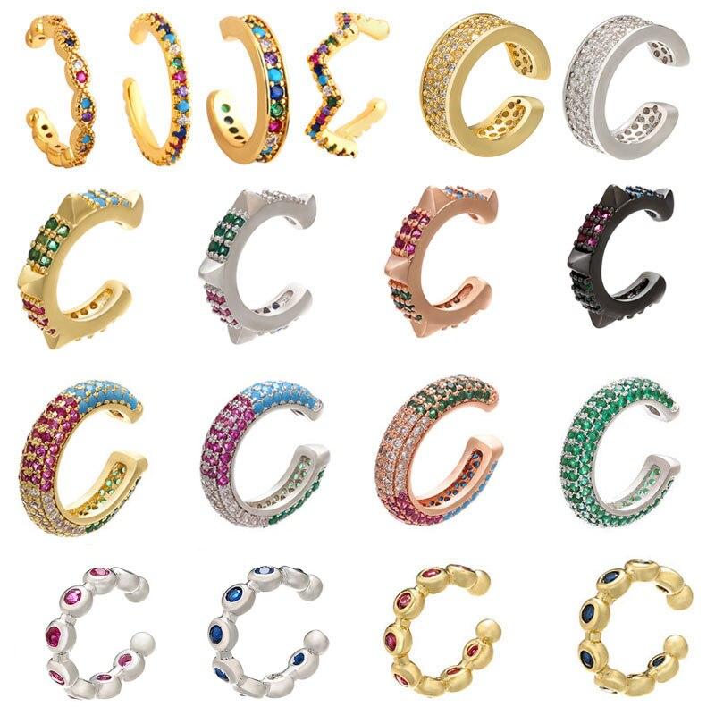 QMHJE-pendientes con Clip para oreja, 1 pieza, estrella, corazón, remache, arcoíris, CZ, Color dorado y plateado, joyería, Aretes no perforados