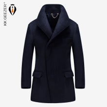 Mens Coat Winter Wool Coat Cashmere Long Jackets Section Woolen Trench