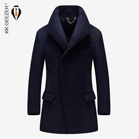 Mens Coat Winter Wool Coat Cashmere Long Jackets Section Woolen Trench Coat Blends Fashion Duffle Overcoats Mandarin Business Pakistan