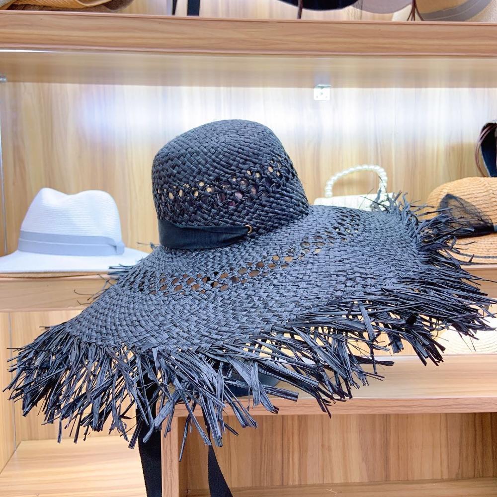 Big Brim Raffia Sun Hat Hollow Out Ribbon Summer Beach Hat Elegant Floppy Fedora Straw Hat UV Protection Fringed Sun Derby Cap