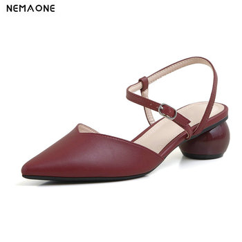 2020 Women Pumps Square High Heel Pointed Toe Buckle Genuine Leather Women Shoes Fashion Slingback Ladies Pumps Size 34-39