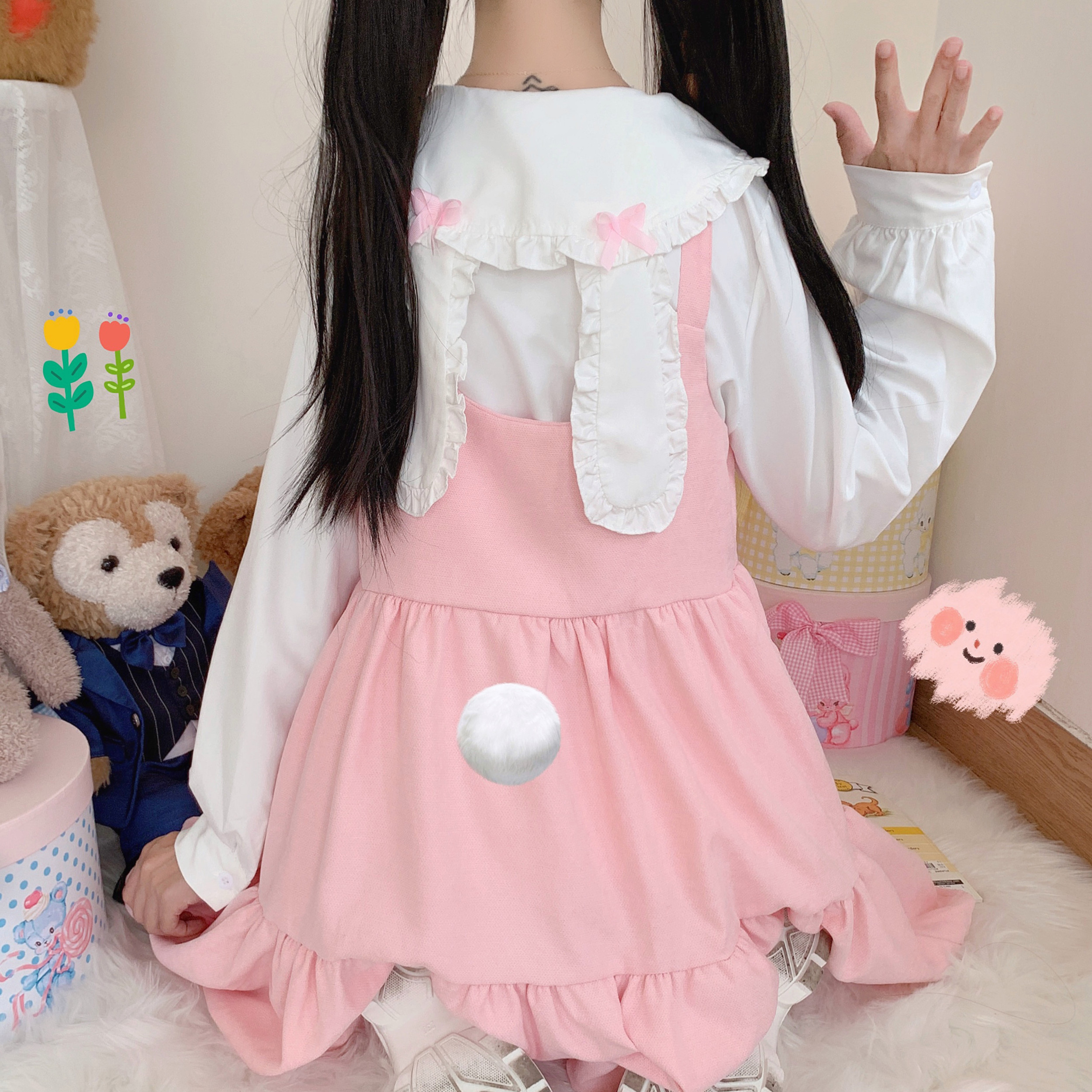 Японский осенний костюм из двух предметов Kawaii Lolita маскарадный костюм с бантом и заячьими ушками милое мягкое платье без рукавов с оборками ...