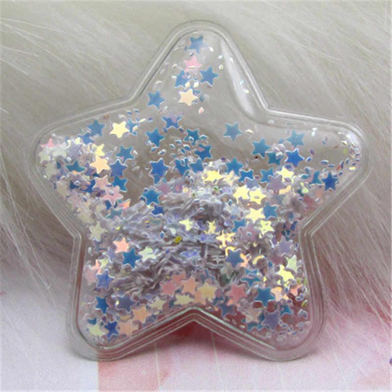 1/10 Stks/partij 6.2 Cm Ster Transparant Bling Bling Star Vloeiende Patches Applicaties Voor Kinderen Clip En Diy Haar clip Accessoires