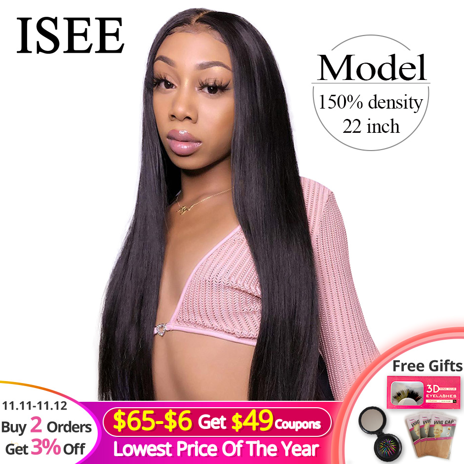 Straight Full Lace Human Hair Wigs For Women Pre Plucked 150% Density Human Hair Wigs ISEE HAIR Malaysian Straight Full Lace Wig