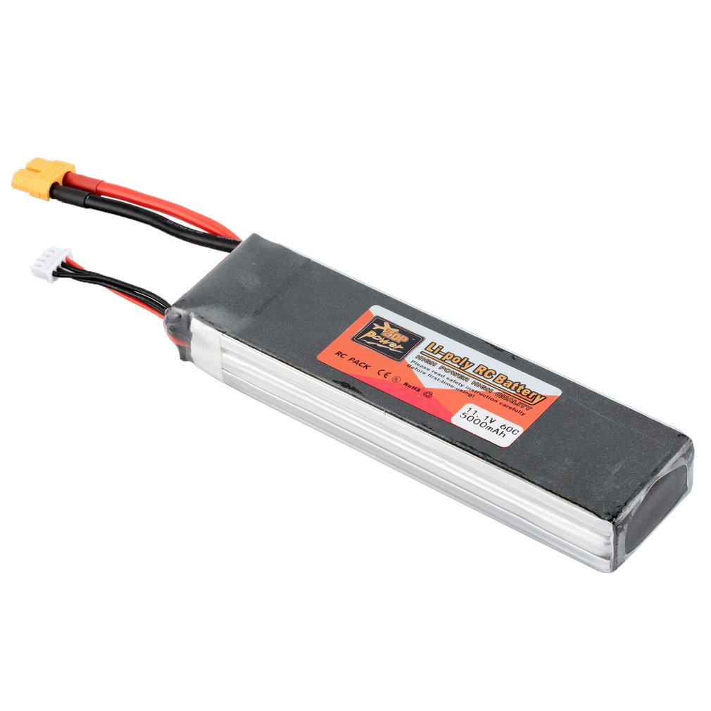 ZOP Power <font><b>11.1V</b></font> <font><b>5000mAh</b></font> 60C 3S 1P <font><b>Lipo</b></font> <font><b>Battery</b></font> XT60 Plug Rechargeable for RC Racing Drone Quadcopter Helicopter Car Boat image