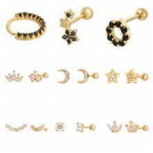 2 sztuk 925 Sterling Silver czarny cyrkon kryształ stadniny kolczyki dla kobiet złoty kolczyk ślub zaręczyny Piercing biżuteria prezent A30