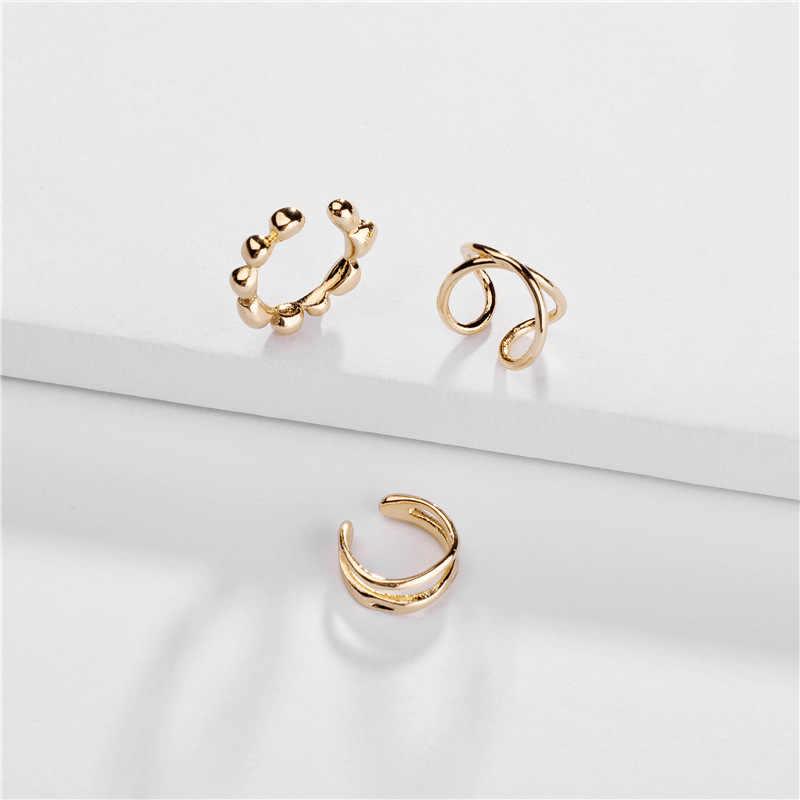 F.I.N.S 3 ชิ้น/เซ็ตเกาหลีแฟชั่นอินเทรนด์ผู้หญิงทองทองแดงหู Cuffs สำหรับโลหะคลิปบนต่างหูไม่เจาะ