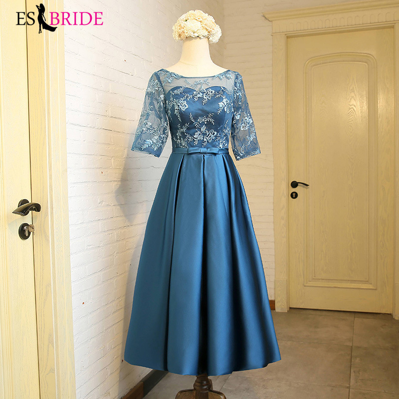 Elegant Prom Dresses Sequined A-Line O-Neck Sleeve Tulle Illusion Evening Party Gowns