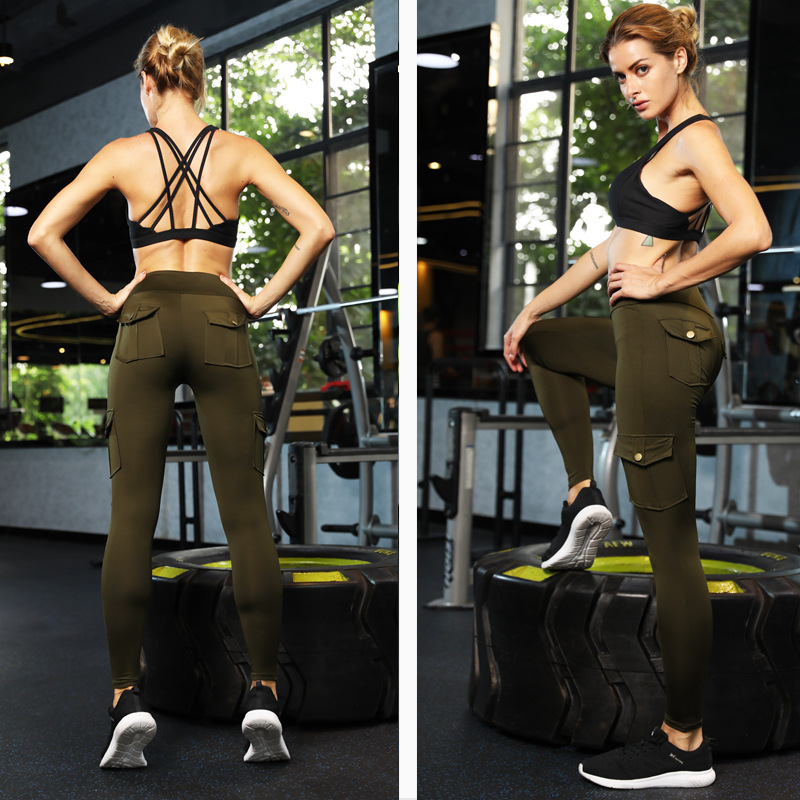 Women Elastic Yoga Leggings Bamboo Fiber Sports Hips Up Long Pants With Pockets -OPK