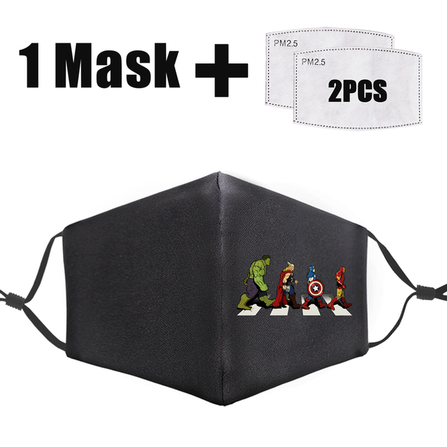 Marvel Superhero On The Way Printed Masks Fashion Iron Man Face Masks Adult Reusable Washable Mouth Cover Dust Proof Flu Mask