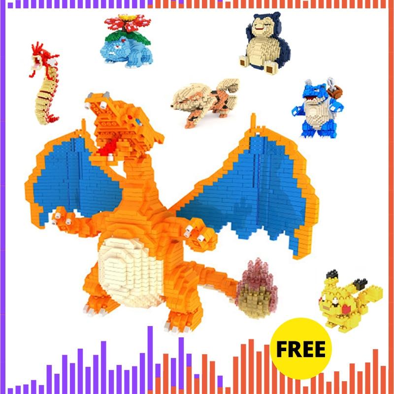 DIY Mini Building Block Bricks Pokemoned Charizard Japanese Anime Diamond Pocket Doll Children's Brithday Gift Toy VS Loz Balody