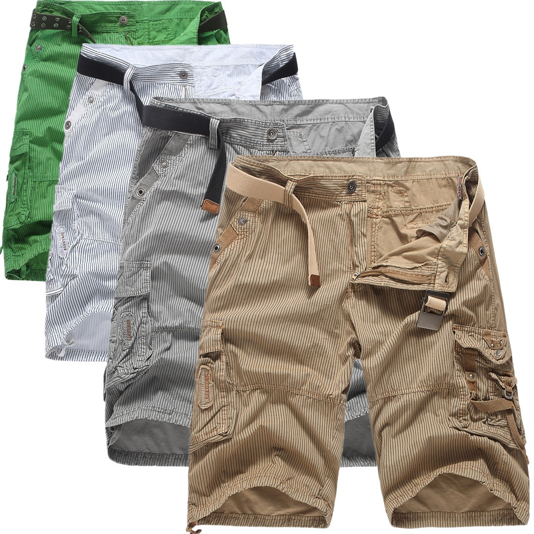 2018 New Style Summer Wear Bib Overall Shorts Europe And America Stripes Men Cotton Shorts Beach Shorts 4-Color