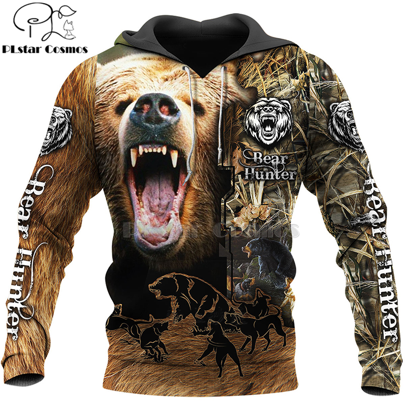 PLstar Cosmos Bear HUNTING 3D  Printed Shirts 3D Print Hoodies/Sweatshirt/Zipper Man Women Big Black Bear Bow Hunter Bear-2