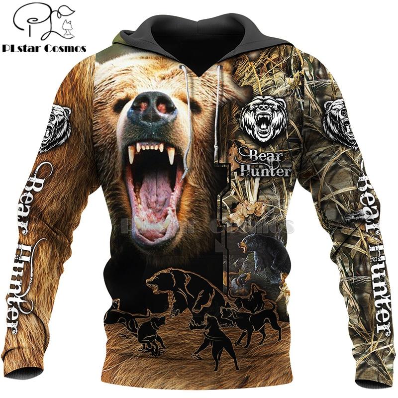 PLstar Cosmos Bear HUNTING 3D  Printed Shirts 3D Print Hoodies/Sweatshirt/Zipper Man Women Big Black Bear Bow Hunter Bear-2