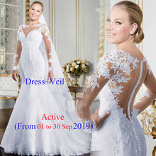 Sheer Mermaid Wedding Dress With Long Train Sexy See Through Tulle Back Bride Gowns Robe De Marriage Cheap Lace Bridal Dresses