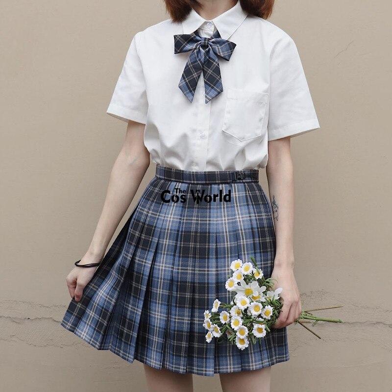 [Sea Island] Girl's Summer High Waist Pleated Skirts Plaid Skirts Women Dress For JK School Uniform Students Cloths