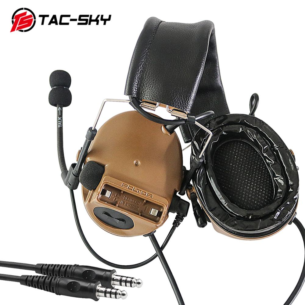 TAC-SKY COMTAC III Silicone Earmuffs Double Pass Edition Outdoor Hunting Sports Noise Reduction Pickup Tactical Headset - CB