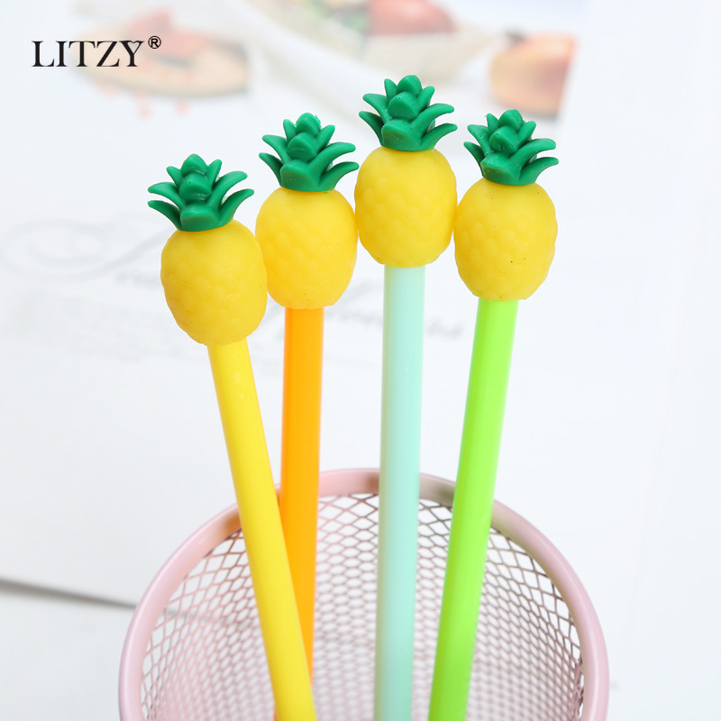 2pcs Cute Pineapple Pens Novelty Neutral Pens Kawaii Gel Pens For Kids Gift School Office Neutral Pen Stationery Supplies