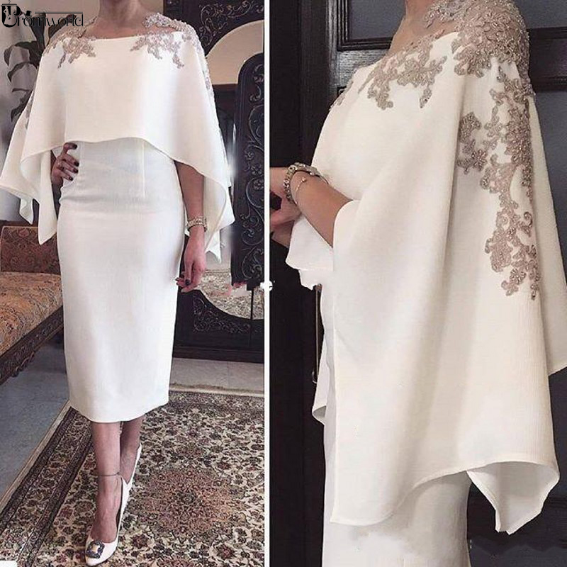 2019 New White Satin Cocktail Dresses With Wrap Appliques Tea Length Sheath Dubai Formal Occasion Formal Party Gown Custom Made