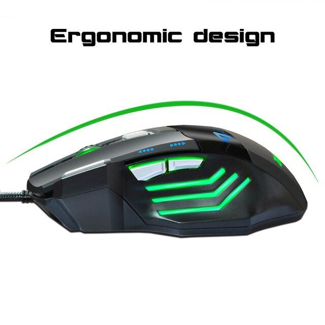 Professionale Gaming Mouse DPI Mouse Ottico con cavo Retroilluminazione A LED Computer Mouse Per Il Computer Portatile di Gioco per PC 4