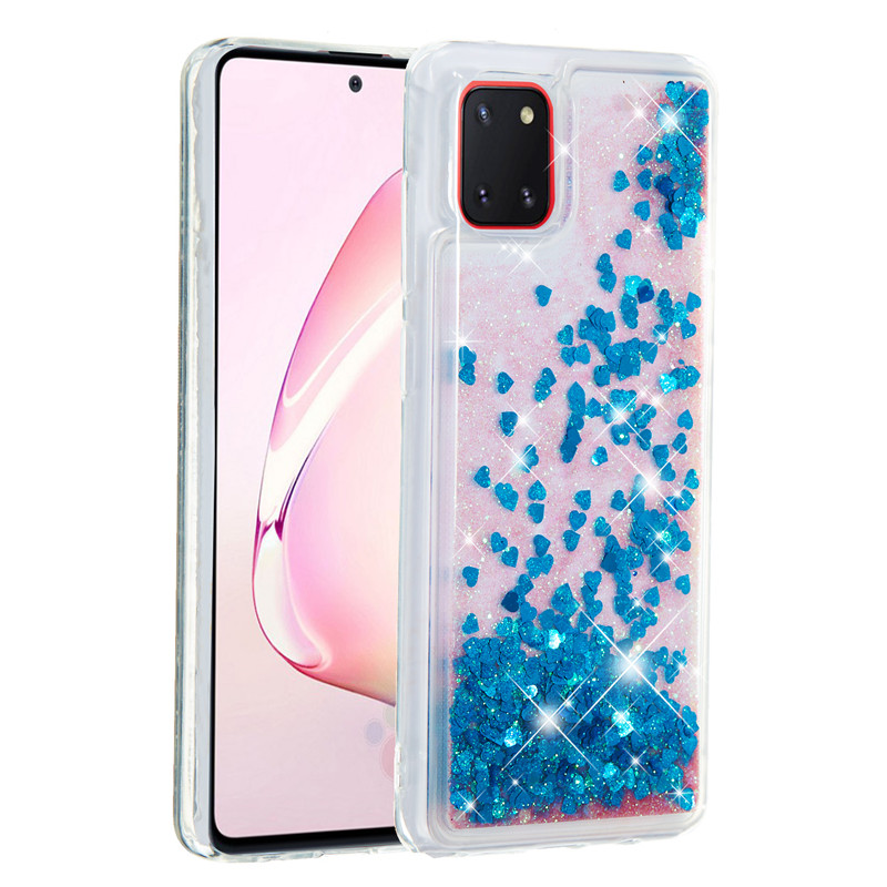Shockproof phone cases For Samsung Galaxy A01 A21 A81 A91 Soft Silicone TPU Gradient Quicksand Sparkling mobile phone case image