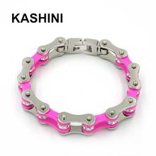 Punk Pink Bicycle Chain Bracelet For Women Stainless Steel 316L Female Crystal Motorcycle Bracelets Jewelry Gift