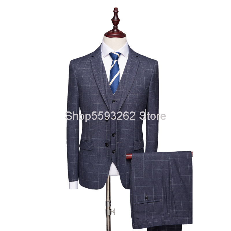 2020 Men Check Pattern Suit Suit Youth Business Leisure Marriage Dress Men's Wear Suit Three-piece Set Male