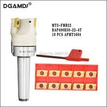 1 conjunto mt3 fmb22 + 400r ângulo direito ombro rosto moinho cortador 50mm + 10 pçs apmt1604 inserções de carboneto com chave para ferramenta de trituração