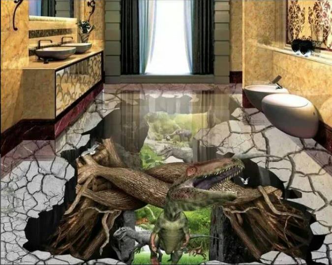 3d peintures murales pvc papier peint personnalisé 3d carreaux de sol papier peint étanche pour salle de bain animaux carrelage photos