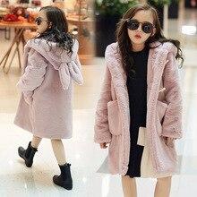 Dollplus/зимнее пальто для девочек парки для девочек от 3 до 12 лет утепленная Вельветовая куртка с капюшоном и заячьими ушками одежда для маленьких девочек