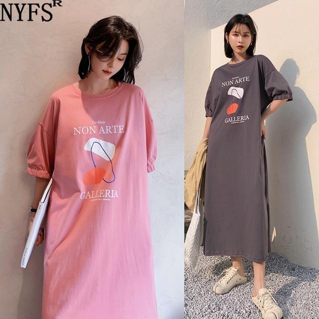 NYFS Summer Dress 2021 New Elastic bubble Short Sleeve Long Dress Vestidos Robe Elbise Fashion Cotton Printing Woman Dress 1