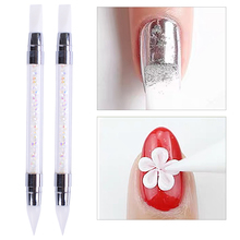 Dual-Ended Nail Art Silicone Sculpture Pen Wax Pencil for Rhinestones Professional 3D Carving Dotting Accessories Tools GLD003