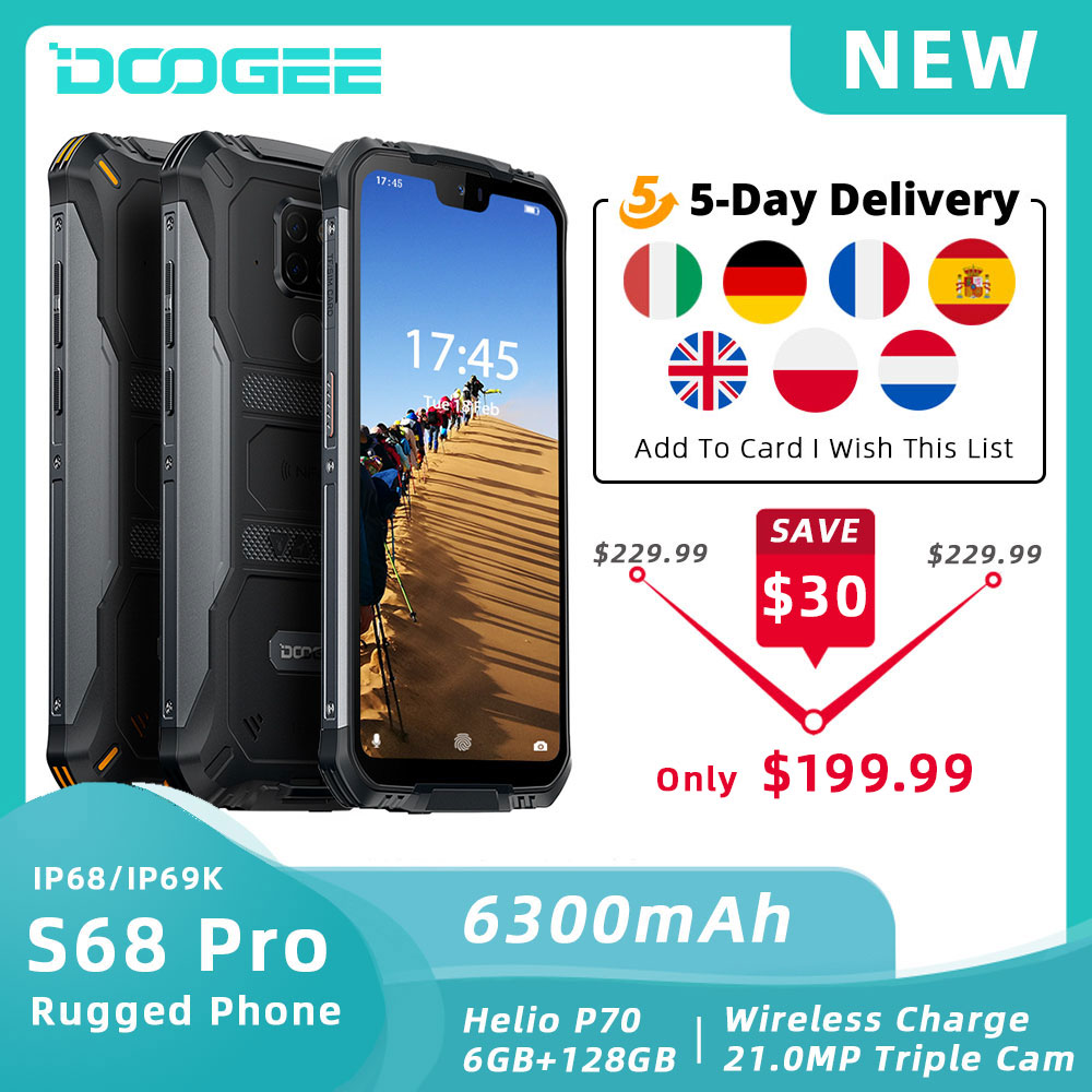 <font><b>DOOGEE</b></font> <font><b>S68</b></font> <font><b>Pro</b></font> Rugged Phone Helio P70 Octa Core 6GB 128GB Wireless Charge NFC 6300mAh 12V2A Charge 5.9 inch FHD+ <font><b>IP68</b></font> Waterproof image
