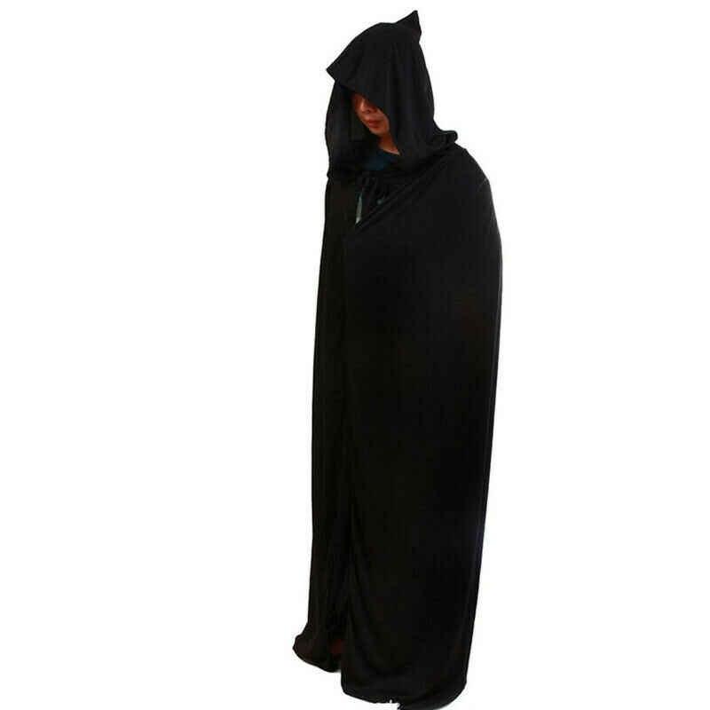 ハロウィン衣装大人死コスプレ衣装黒黒フード付きマント怖い魔女悪魔役割コスプレロング黒マント新しい