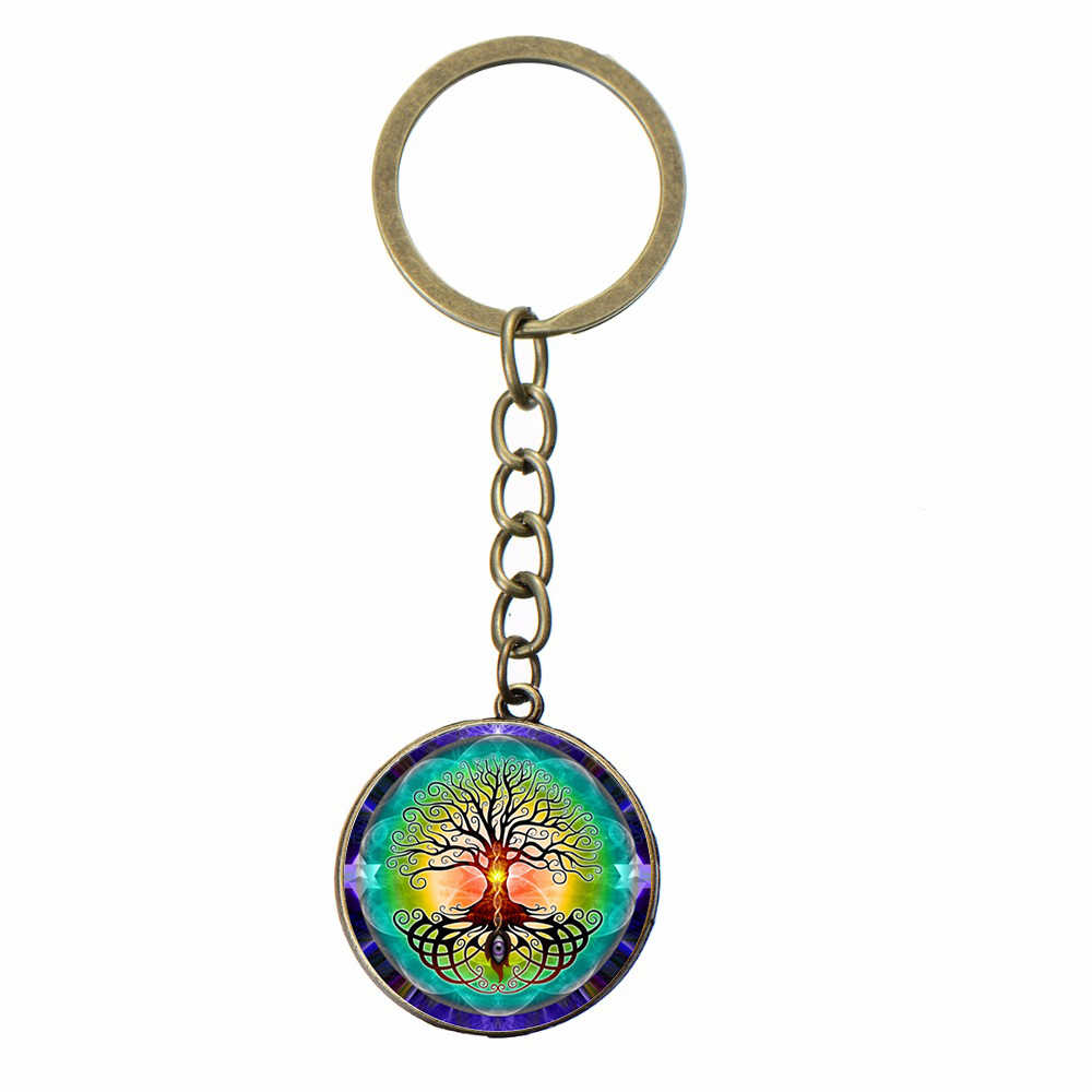 SONGDA saint arbre de la vie mauvais œil porte-clés bonne chance Talisman bouddhiste Chakra fait à la main Art Photo verre dôme charme porte-clés cadeau