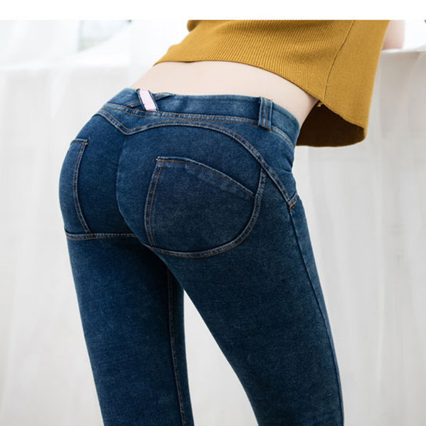 Sexy Women Jeans Leggings Solid Blue Denim Jeans Push Up Hip Skinny High Waist Stretch Female Elastic Slim Pencil Pants 10