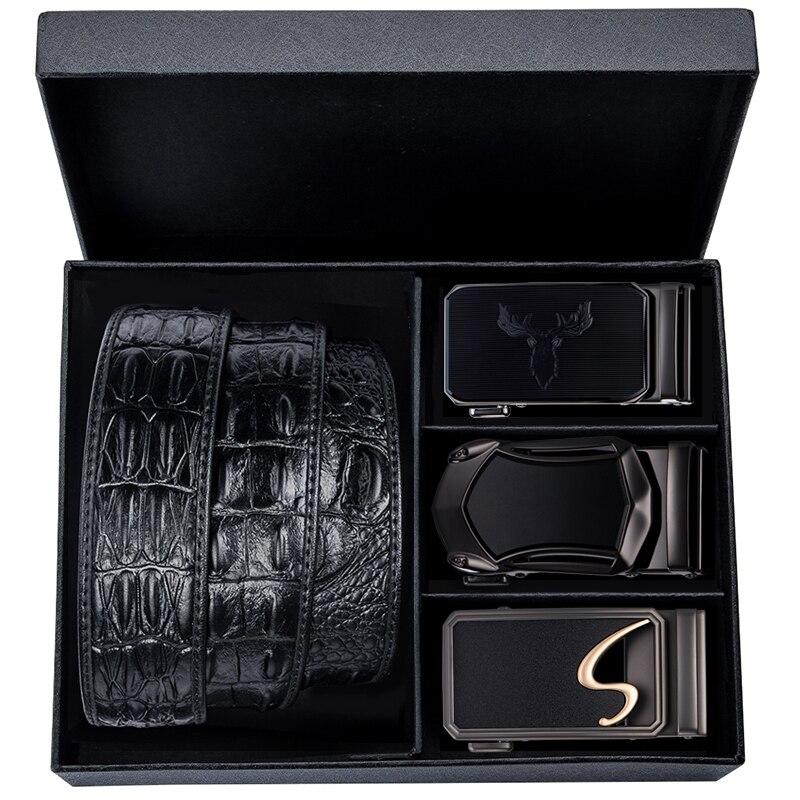 Famous Brand Crocodile Belt Men Cowhide Genuine Leather High Quality Belts For Men Luxury Gift Box Set Men's Black Leather Belts
