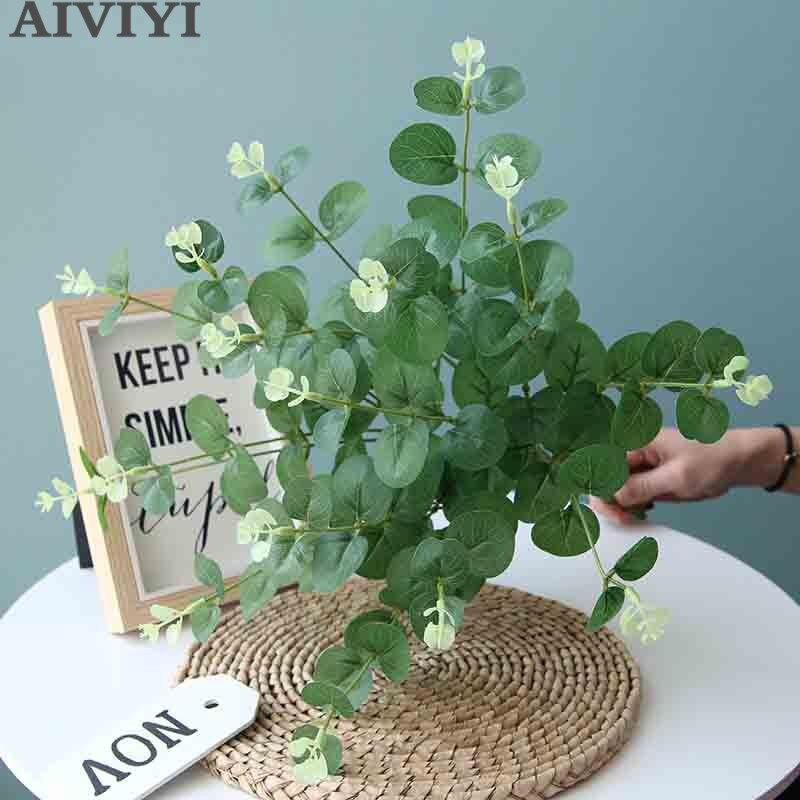 50cm silk artificial flower green eucalyptus branch home table decor wedding fake flower arrangement Christmas plant money leaf