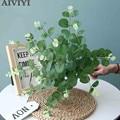 Шелковый Искусственный цветок 50 см, зеленая ветка эвкалипта, декор для домашнего стола, свадебная поддельная Цветочная композиция, рождест...