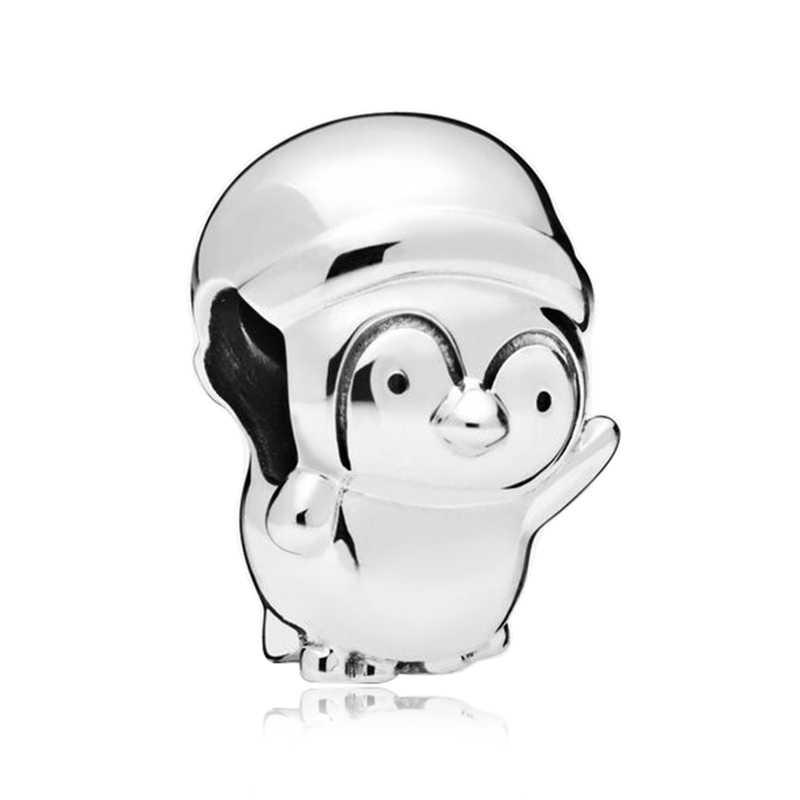 Pulsera de Pandora brillante Simba corazón Original DIY joyería nueva plata 925 Cruz amor pingüino vino amuleto colgante de cristal