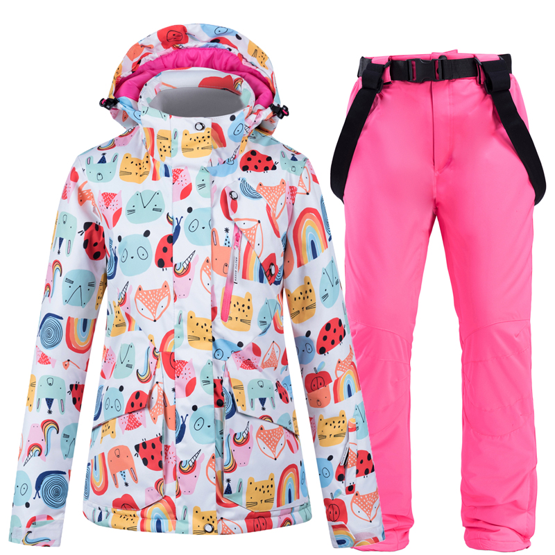 2020 New Ski Suit Women Windproof Waterproof Breathable Warm Snowboard Jackets Pants High Quality Winter Ski Jacket Women