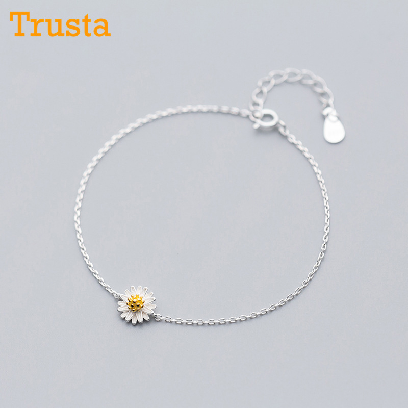 Trustdavis 100% 925 Sterling Silver Fashion Minimalist Romantic Marguerite Flower Bracelet For Women Girl Fine Jewelry DS1119