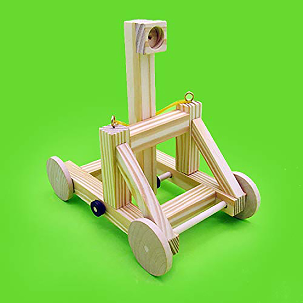 1Set DIY Small Technology Production Wooden Catapult Children Gift Handmade Assembly Model Kit Wood Toy Chariot