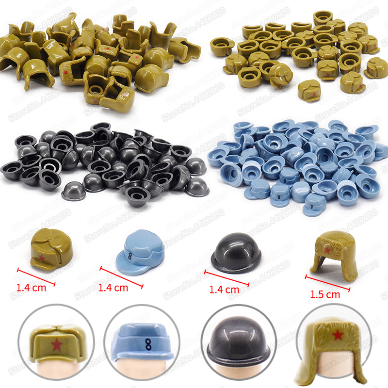 Helmet Building Blocks Lot Military Powerful Country Army Figures World War 2 Mini Equipment Helmet Military Moc Christmas  Toys